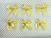 50 Mini Gold Bows Satin Ribbon