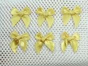 50 Mini Gold Bows Satin Ribbon