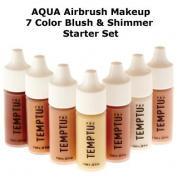 TEMPTU PRO 7 Colour Aqua Airbrush Makeup Blush & Shimmer Set in 30ml Bottles