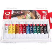 . 12 Mulit Colour Oil Paint 12ml Tube Draw Drawing Painting Box Set Kit , Ships from CA, USA.