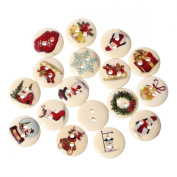 PEPPERLONELY Brand 100PC Christmas 2 Hole Painted Scrapbooking Sewing Wood Buttons 15mm