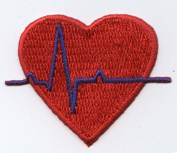 Medical Heart EKG Iron on Embroidered Patch