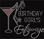 Birthday Girl's Entourage with Martini Rhinestone Iron on Transfer