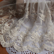 Beige 5 Yards Retro Floral Embroidered Mesh Lace Dress Edge Lace Trim Fabric Ribbon Wedding Bridal Veils Craft 24cm Wide