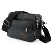 Men Vintage Crossbody Canvas Messenger Shoulder Bag School Hiking Military Travel Satchel - Black