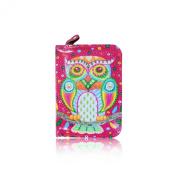 Ladies Girls Desinger Folk Art Owl Short Oil Coated Purse