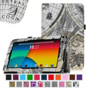 RCA 23cm Tablet Case - Fintie Premium Leather Cover with Stylus Holder for RCA 23cm Tablet (Model# RCT6691W3), Map Design