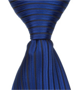 Matching Tie Guy 2386 B5 - 28cm . Zipper Necktie - Blue With Small Black Stripes 24 Month to 4T