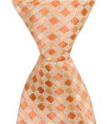 Matching Tie Guy 4203 O6 - 15cm . Newborn Zipper Necktie - Orange Plaid