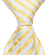Matching Tie Guy 2736 Y3 - 28cm . Zipper Necktie - Yellow With White Stripes 24 Month to 4T