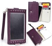 HTC Desire 510 compatible Clutch Case Clear Screen w/Strap,Card Slots||NuVur ™ Purple