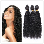 Sexyqueenhair Mongolian Afro Kinky Curly Virgin Human Hair Weaves 300g Natural Colour#1B 3 Bundles 20cm