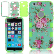 NSSTAR iPhone 6S Case,iPhone 6S 6 Case,iPhone 6S Hybrid Case,Elegant Rose Flowers Soft Silicone and Hard Plastic 3in1 Hybrid High Impact Bumper Hard Back Case Cover for Apple iPhone 6S 6 12cm