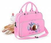 Junior Dance Bag Shoulder Bag Carrying case Casual pack with Name and Personal picture - Classic Pink / Light Grey