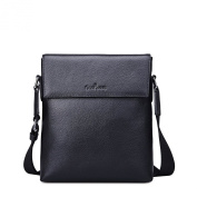 Shoulder bags for men in genuine leather with zip and flap Gear Band Black