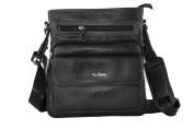 Shoulder belt man PIERRE CARDIN black leather pouch multicompart F524