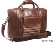5Native Brown and Olive East West Leather Portfolio Messenger Bag/ Laptop Bag / Business Bag