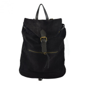 CTM Woman's backpack in genuine suede leather made in Italy 32x38x17 Cm