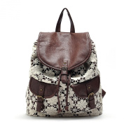 LI & HI Fashion Exclusive custom vintage ladies high quality canvas PU hollow crochet flowers backpacks shoulder bag leisure backpack - Brown - One Size (31 x 41 x 16 cm