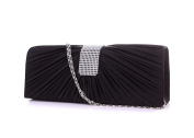 Anik Sunny Women's Shinny Rhinestone Clutch Evening Bag Luxury Satin Handbag Purse