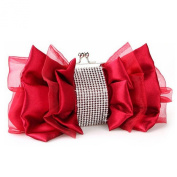 Anik Sunny Women's Satin Shiny Rhinestone Clutch Evening Bag Luxury Bowknot Handbag Party Tote Bags