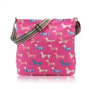 Pink Canvas Shoulder Bag, Dachshund Dog Across body Bag, Hot Pink Sausage Dogs Cross Body Handbag