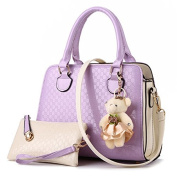 YIYINOE 2015 Fashion 2 Pieces Stripe Single Shoulder PU Leather Bag Women's Simple Design Clutches Purse Medium Tote Handbag For Womens + Little Bear Purple