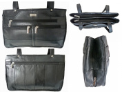 Ladies GENUINE LEATHER Handbag. Black Women's REAL Leather Shoulder Bag, 2 Straps, Multiple Pockets. Quenchy London Designer Handbags. QL172