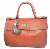 Kilaccessori - Large handbag, handle with cross stitching - 100% Tuscan Leather