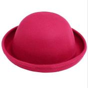 Butterme Kids Roll Brim Dura Cloche Bowler Hat Winter Wool Felt Fedora Billycock Cap Pink