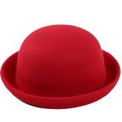 Butterme Kids Roll Brim Dura Cloche Bowler Hat Winter Wool Felt Fedora Billycock Cap Red