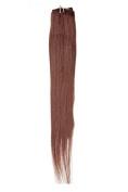 Single Weft Clip in Hair Human Hair Extensions 46cm Fiery Brown (080) American Pride