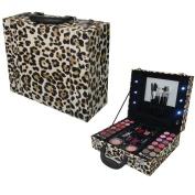 Light Up Animal Leopard Print Vanity Trinket Case Make up Cosmetic Gift Set