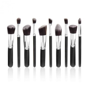 10 Make up Brushes Set for Foundation, Blending, Blush, Eyeliner, Face Powder - Synthetic Hair, Aluminium Ferrule, Natural Wood Handle by TARGARIAN