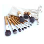 11 Make up Brushes Set - Synthetic Hair, Aluminium Ferrule, Bamboo Handle, Linen Bag by TARGARIAN