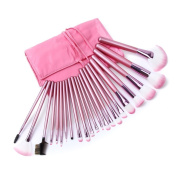 22 Make up Brushes Set - Synthetic Hair, Aluminium Ferrule, Natural Wood Handle - Pink Leather Bag by TARGARIAN