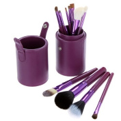 12 Make up Brushes Purple Leather Cup Set - Goat /Pony /Synthetic Hair, Aluminium Ferrule, Natural Wood Handle [version:x9] by DELIAWINTERFEL