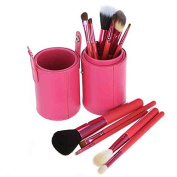 Pink Leather Cup 12 Make up Brushes Cup Set Goat /Pony /Synthetic Hair Aluminium Ferrule Natural Wood Handle [version:x8.9] by DELIAWINTERFEL
