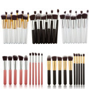 Hotportgift 10Pcs Professional Cosmetic Makeup Tool Kit Brush Set Face Powder Eye shadow Eyeliner Blusher