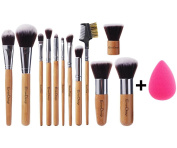 [New Arrival] EmaxDesign® 12+1 Pieces Makeup Brush Set, 12 Piece Bamboo Handle Cosmetics Brushes & 1 Piece EmaxBeauty® Makeup Blender Sponge