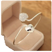 FANMURAN Women Crystal Double Heart Bangle Cuff Bracelet Wedding Proposal Jewellery