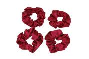 GIZZY® Ladies, Girls Set of 4 Burgundy Red Satin Elasticated Hair Scrunchies.
