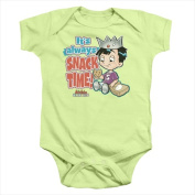 Archie Babies-Snack Time - Infant Snapsuit Soft Green - Medium 12 Mos