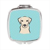 Carolines Treasures BB1160SCM Checkerboard Blue Yellow Labrador Compact Mirror 2.75 x 3 x .7.6cm .