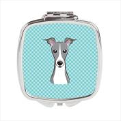 Carolines Treasures BB1174SCM Checkerboard Blue Italian Greyhound Compact Mirror 2.75 x 3 x .7.6cm .