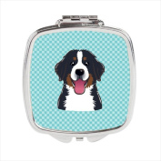 Carolines Treasures BB1175SCM Checkerboard Blue Bernese Mountain Dog Compact Mirror 2.75 x 3 x .7.6cm .