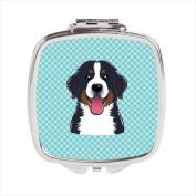 Carolines Treasures BB1175SCM Checkerboard Blue Bernese Mountain Dog Compact Mirror 2.75 x 3 x .7.6cm .