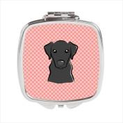 Carolines Treasures BB1235SCM Checkerboard Pink Black Labrador Compact Mirror 2.75 x 3 x .7.6cm .