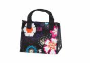 Joann Marie Designs P2LBBFP Poly Lunch Bag - Black Flower Power Pack of 6