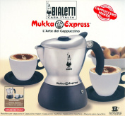 Bialetti Mukka Express Aluminium 2 cups Cappuccino Maker with 2 cups and saucers